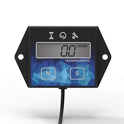 Kleine Digitale Motordrehzahlmesser Betriebsstundenzähler Spurweite Ölwechsel Induktive Betriebsstundenzähler für Boot Rasenmäher Motorrad Außenborder Schneemobil Kettensägen
