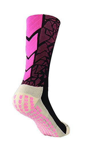 977a7f29e47f Mid-Calf Crew Cushion Soccer Football Socks (Pair) with Anti Slip Pads To