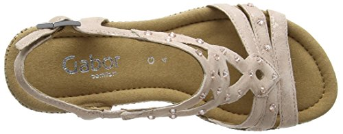 Gabor Patriot Damen Durchgängies Plateau Sandalen Pink (Salmon Pink Metallic Leather/Bast)