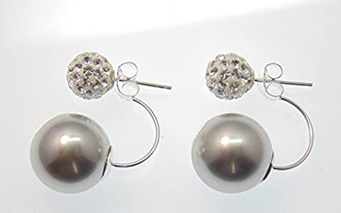 Original LaFemme Tribal Ohrringe, facettierte TruColor Kristalle, große Perle Silbergrau,