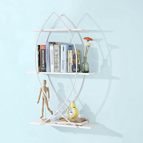 SoBuy®Estanterías para CDs y DVDs,Estante de la pared estante de almacenaje,librería - 3 Niveles - Blanco, FRG192-W ,ES