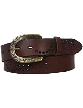 Beltiscool piel de la mujer Foral perforado Casual cinturón
