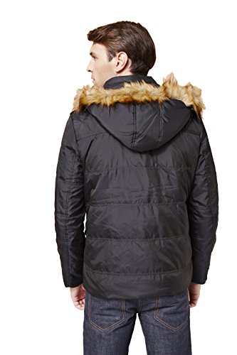 Colorfulworldstore Blouson d'hiver long pour homme Garnissage duvet de canard avec capuche amovible et col fourrure Noir