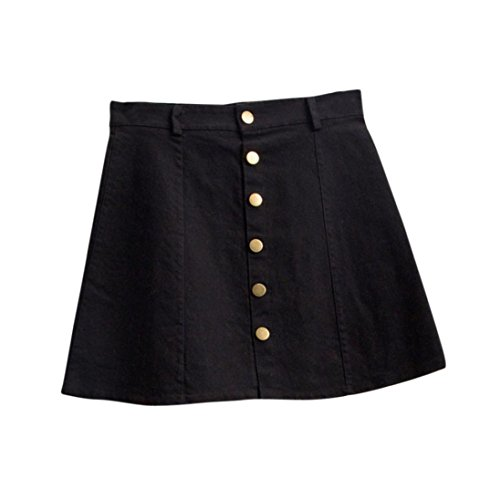 Damen Röcke, GJKK Damen Mode Taille Rock Koreanischen Stil Mädchen Cowboy Mini Denim Kurzen Rock Front Button Closure Casual Sommerkleid Jeans Denim Skirt Minirock Unterrock (Schwarz, L)