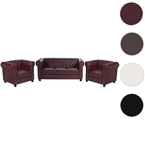 Luxus 3-1-1 Sofagarnitur Couchgarnitur Loungesofa Chesterfield Kunstleder ~ runde Füße, rot-braun