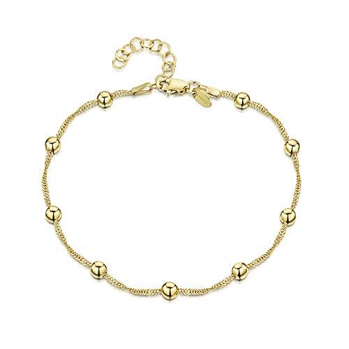 Amberta 925 Sterlingsilber Vergoldet 18K Fußspange - 1,4 mm Singapurkette mit Kügelchen (4 mm) Fußkettchen Armband - 22 bis 25,5 cm - Flexibel Verstellbar