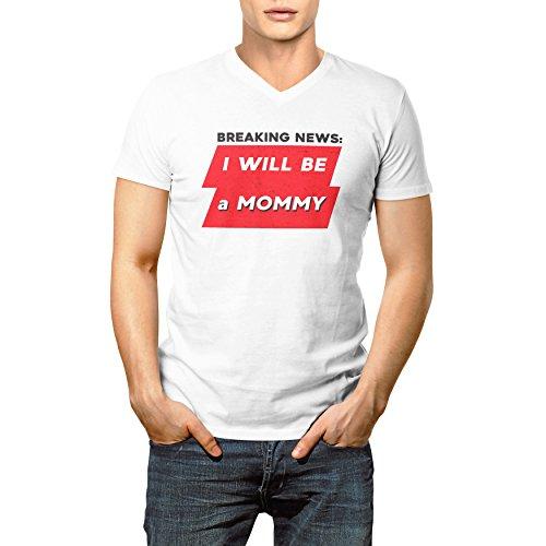 Breaking News I Will Be A Mommy Herren V-neck T-shirt XL (V-neck Ringer T-shirt Womens)