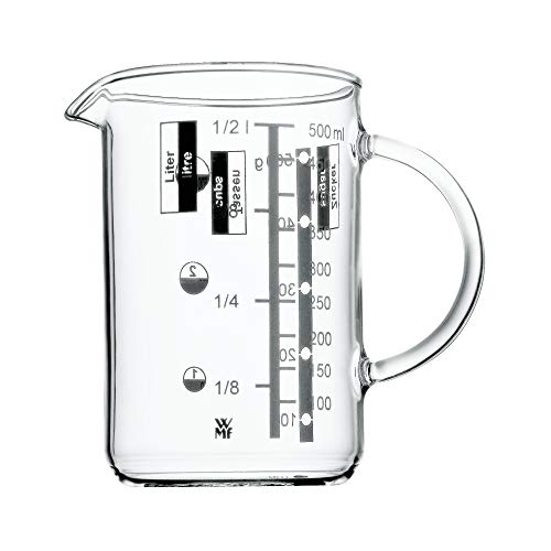 WMF Gourmet Messbecher 0,5l, hitzebeständiges Glas, Skalierung für Liter, Milliliter, Tassen und Gramm