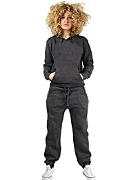 d6ebbf98f08a Parsa Fashions ® Womens Hooded Tracksuit 2Pcs Plain Pull Over Hoodie Jogging  Bottom Sizes Small to