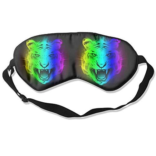 Sleeping Eye Mask Roaring Rainbow Tiger Natural Silk Eye Mask Cover with Adjustable Strap