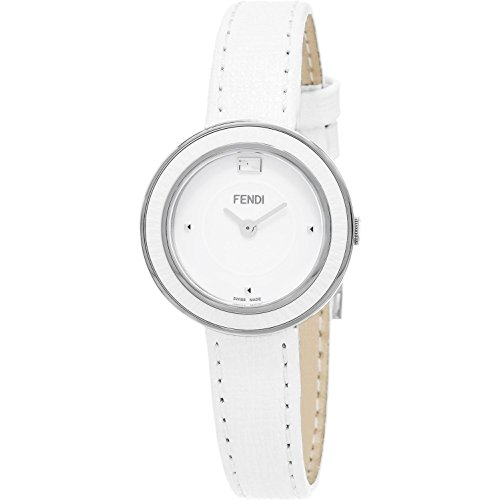 Fendi Women's 28mm White Calfskin Band Steel Case Anti Reflective Sapphire Swiss Quartz Watch F358024041