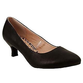 Ladies Womens Wide Fit Memory Foam Comfort Plus Patent Formal Slip On Kitten Heel Party Office Work Court Shoes - Sizes UK 3-8 (UK 6, Black PU)