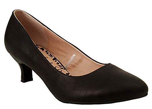 Comfort Plus Damen-Slipper, weite Passform, Memory-Schaum, rutschfest, mittelhoher Absatz, für Party, Büro, Arbeit-Größen 35 1/2 - 42, Schwarz - Schwarz (Black Pu) - Größe: 40
