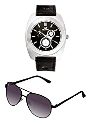 Orlando Casual Chronograph Look Analogue Black Dial Black Leather Belt Mens Watch & BIG Tree Heather Purple Color - Gradient UV Protected Aviator Sunglasses Goggles Combo Set