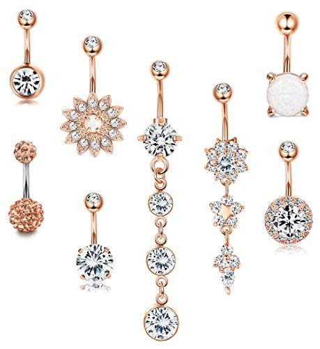 14G Chirurgenstahl Bauchnabel Ringe Baumeln für Frauen Mädchen Nabel Ringe Opal Blume CZ Körper Piercing Silber Ton Rose Gold Tone ()