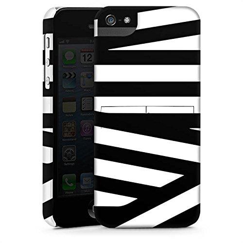 Apple iPhone 5s Housse Outdoor Étui militaire Coque Lignes Noir et blanc Motif CasStandup blanc