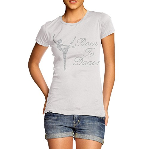 para-mujer-born-to-dance-t-camiseta-de-manga-corta-de-piedras-imitacion-de-diamante-traje-de-neopren