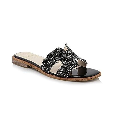 Heart&M Mode strass Peep Toe Women Flat Sole Flat Chaussons Heel Sandals . black . 35