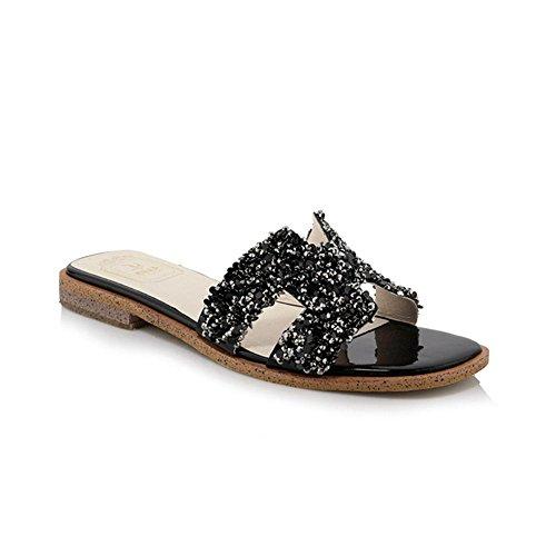 WZW Mode strass Peep Toe Women Flat Sole Flat Chaussons Heel Sandals Black