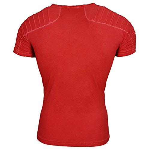 Rusty Neal Herren Rundhals T-Shirt Kurzarm Hemd Slim Fit Design Fashion RN15040 Rot
