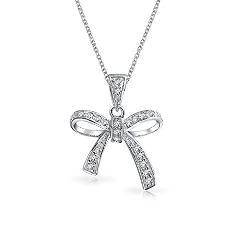 Bling Jewelry 925 Sterling Silver Clear CZ Ribbon Pendant Bow Necklace 16in
