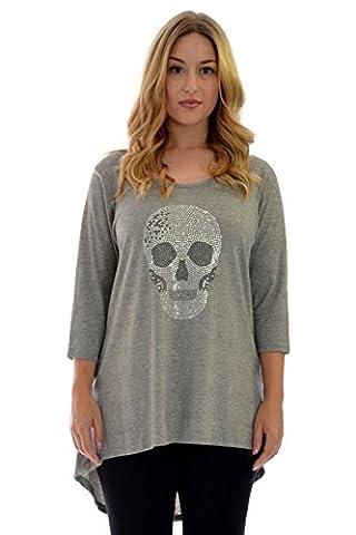 Nouvelle Damen Plus-Size Totenkopf Shirt (Größe 56-58, Silber-Grau)