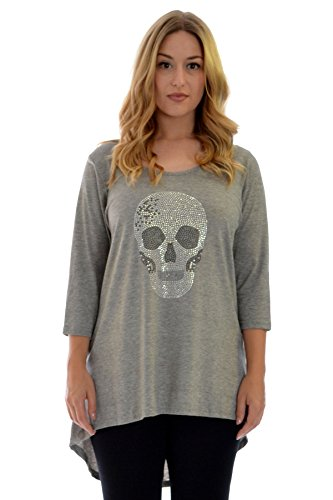 Neues Damen Übergrößen T-Shirt Totenkopf Shirt Frauen Top Ladies Plus Size Nouvelle Collection 1107 (Größe 54-56, Silber Grau) (Womens T-shirts Größe Plus)