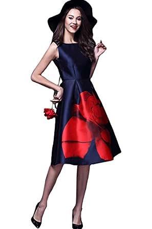 Finivo Fashion Women's Sleeveless Midi Dress (FFADN-AFUD107_Navy blue_Free Size)
