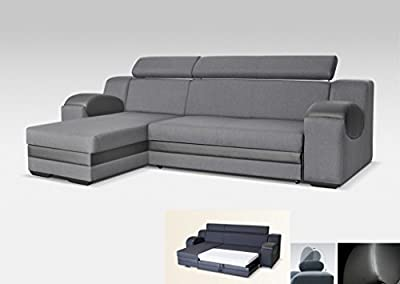 Universal Corner Sofa Bed - Madrit - Grey Fabric & Faux Leather 260cm from Megan Furniture
