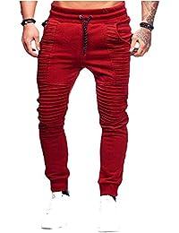 SOMTHRON Hombre Cinturón de cintura elástico Pantalones de chándal de  algodón largo Jogging Pantalones de carga 9a143d60e454b