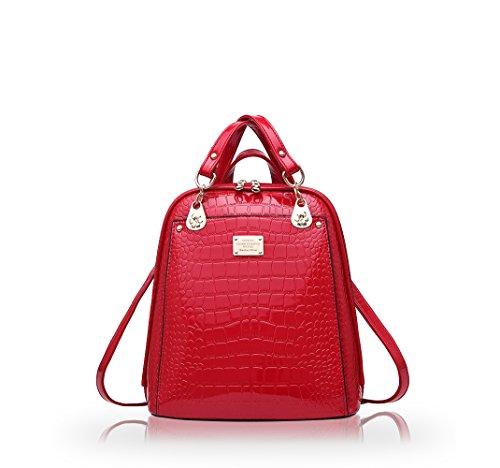 NICOLE&DORIS Neuer Trend Rucksack Umhängetasche Damen / Frauen Dual-Use-College Wind Mode-Reisetasche(Black) Red wine