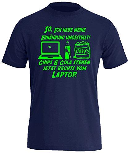 Ich habe Ernährung umgestellt! Chips und Cola stehen jetzt Rechts vom Laptop. - Herren Rundhals T-Shirt Navy/Neongruen