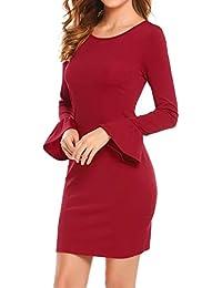 Damen Wickelkleid Langarm Rundhals Herbstkleid mit Trompete Ärmel Moderner  Schnitt Abendkleid Partykleid in 3 Farbe e74e5d4d82
