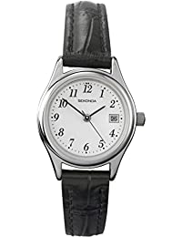 Sekonda Women's Quartz Watch with White Dial Analogue Display and Black Leather Strap 4081.27