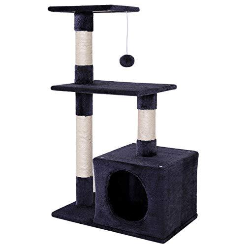 dibea KB00252 Kratzbaum, Kletterbaum für Katzen (Höhe 80 cm), grau