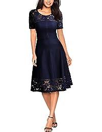 Miusol Damen Elegant Abendkleid Sommer Spitzen kleid Rundhals Vintage 1950er Faltenrock Cocktailkleid Navy Blau / Rot Gr.S-XXL