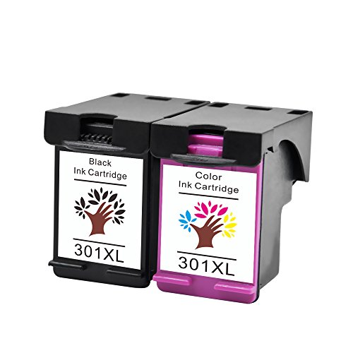 GREENSKY 2 Paquetes Cartucho de Tinta compartible de reemplazo para HP 301 301XL para HP CH561EE CH562EE CH563EE CH564EE HP Deskjet 1000 1010 1050 2000 2050 2050a 3000 3050-(1 Negro & 1 Tri-Color)