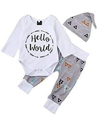 K-youth Ropa Bebe Nino Recien Nacido Otoño Invierno 2018 Ofertas Hello World Infantil Blusas Bebe Niña Manga Larga Camisetas Bebé Mono Mameluco Tops + Pantalones + Sombrero