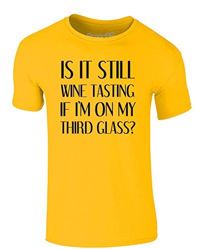 Brand88 - Wine Tasting, Erwachsene Gedrucktes T-Shirt Gänseblümchen-Gelb/Schwarz