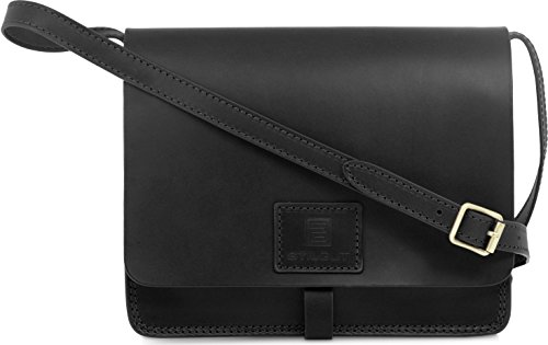 StilGut® Ricordi, sac à main vintage authentique en cuir italien haut de gamme Noir