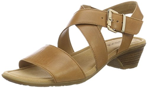 Gabor Shoes Fashion, Sandali con Zeppa Donna, Beige (Cognac 24), 43 EU