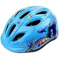 XDXDWEWERT Bicicleta Los niños Imprimen patrón Casco Casco de Seguridad Ajustable Casco de protección para Ciclismo para niños (Azul)