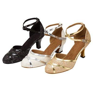 Silence @ Femme piste de danse latine Salsa Dance Chaussures Paillettes étincelante moderne Sandales/talons personnalisés blanc