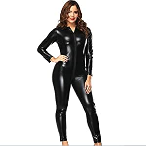 Myhope Women's Faux Leather Open Crotch Cupless Bodysuit