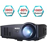 Projector WiMiUS T4 3500 Lumens Video Beamer Home Cinema Projector Support 1080P 50,000H LED Compatible with Amazon Fire TV Stick Laptop iPhone Android Phone Xbox over HDMI USB VGA AV