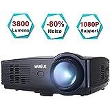 Beamer, WiMiUS T4 3800 Lumens Videobeamer Heimkino-Projektor Unterstützung 1080P 50.000H LED kompatibel mit Amazon Fire TV Stick Laptop iPhone Android-Telefon Xbox über HDMI USB VGA AV (Native 720P)