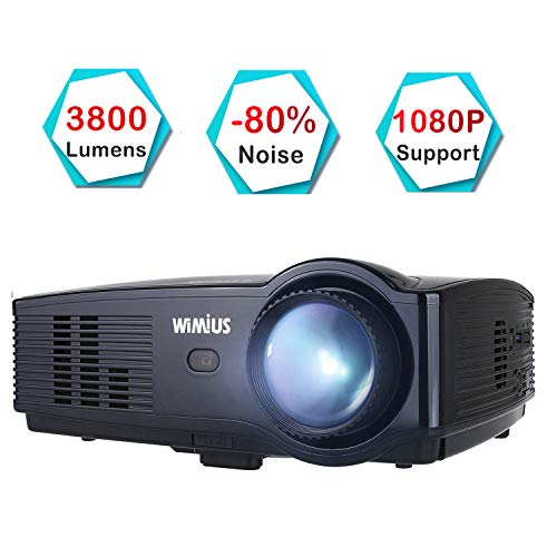 Beamer, WiMiUS T4 3800 Lumens Videobeamer Heimkino-Projektor Unterstützung 1080P 50.000H LED kompatibel mit Amazon Fire TV Stick Laptop iPhone Android-Telefon Xbox über HDMI USB VGA AV (Native 720P)