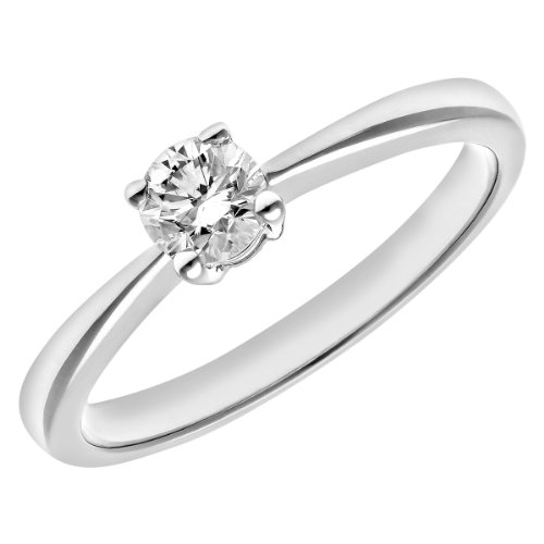 Naava Women's Round Brilliant 0.33 ct Diamond Platinum Solitaire Engagement Ring, IJ/I Certified - Size J