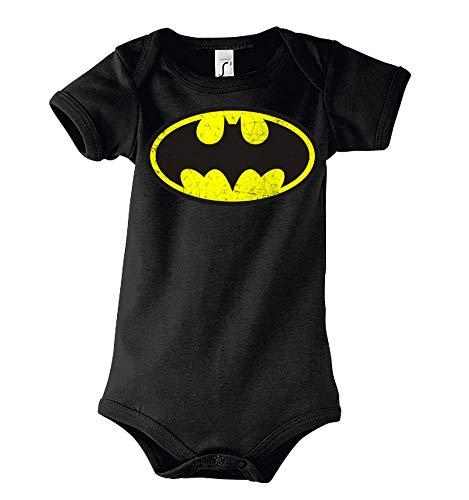 TRVPPY Baby Kurzarm Body Strampler Modell Vintage Batman, Gr. 3-6 Monate, Schwarz
