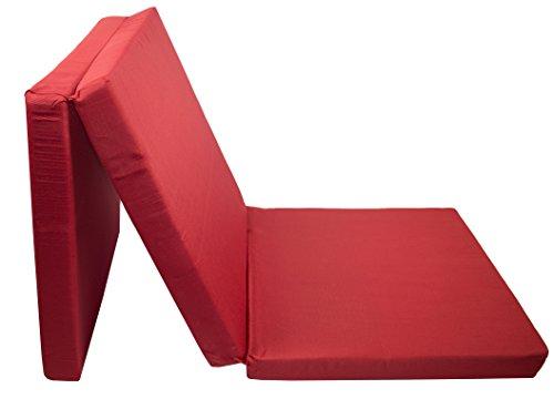 ZOLLNER Materasso Pieghevole/Materasso da Viaggio/Letto per Gli Ospiti/futon per Campeggio, nella Misura 65x195 cm, Colore Rosso, Disponibile in Altri Colori e Misure